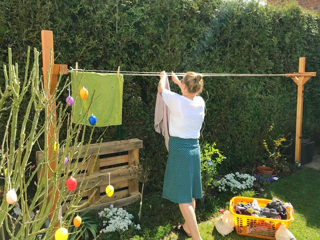 Wäscheleine bauen Garten